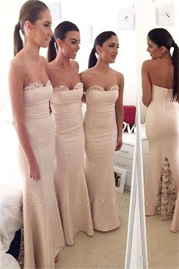 Mermaid Elegant Long Sweetheart Lace Bridesmaid Dress