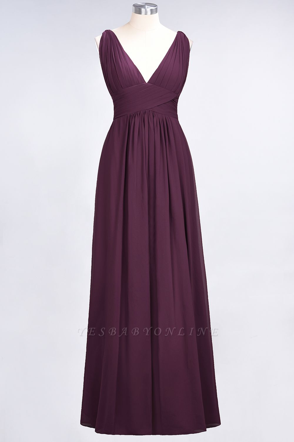 A-Line V-Neck Sleeveless Floor-Length  Bridesmaid Dress with Ruffle