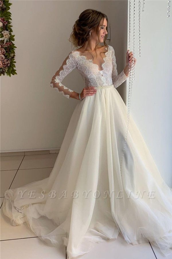 Gorgeous A-line V-Neck Wedding Dresses with Long See-Through Sleeves
