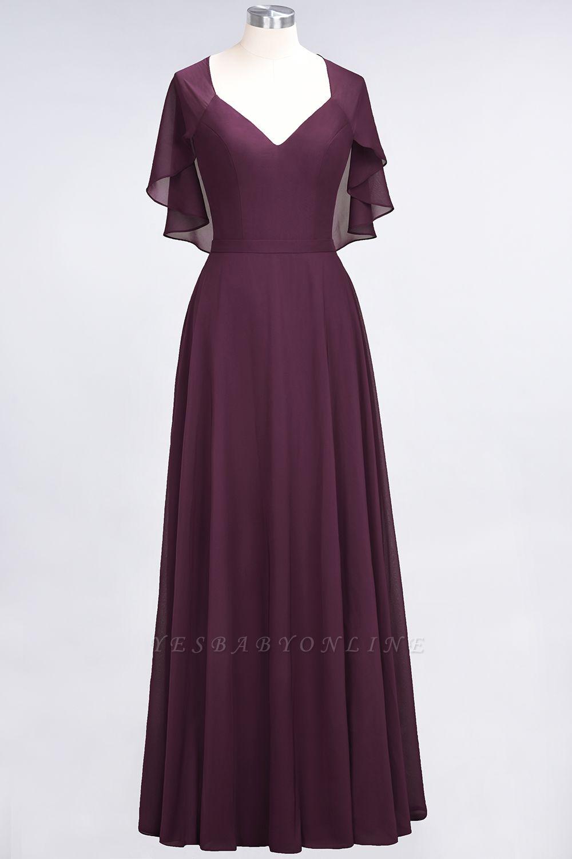 A-Line V-Neck short-sleeves Floor-Length Satin Bridesmaid Dress
