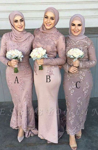 Elegant Arabic Ankle Length Long Sleeves Lace Bridesmaid dresses