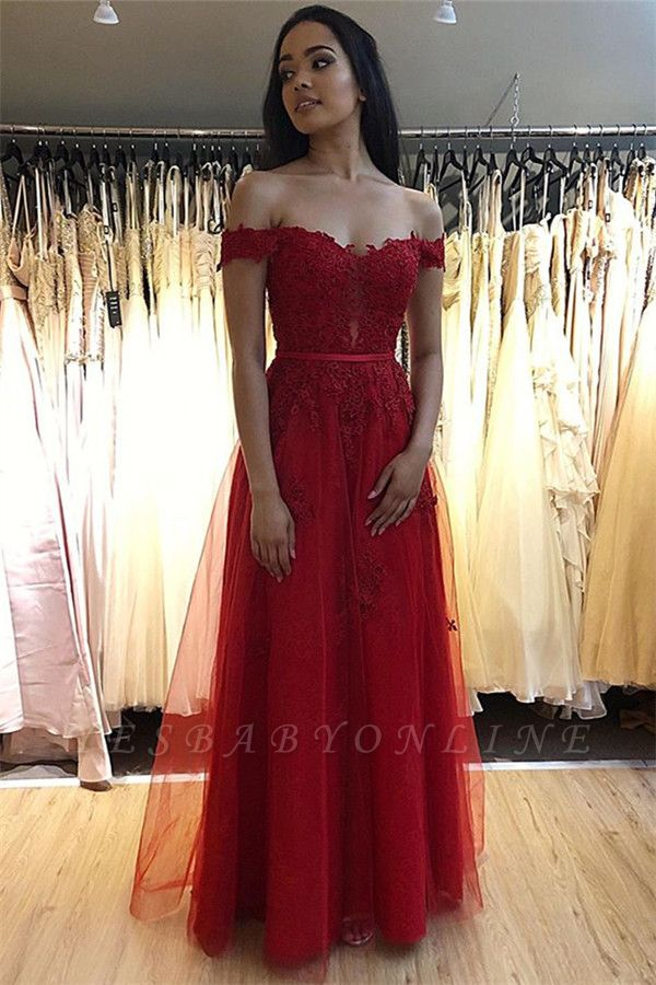 Elegant A-line Off-The-Shoulder Prom Dresses with Lace Appliques