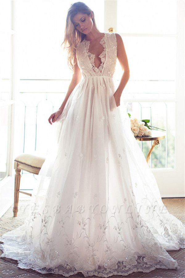Sleeveless V-Neck Appliques Lace Glamorous A-Line Princess Wedding Dress