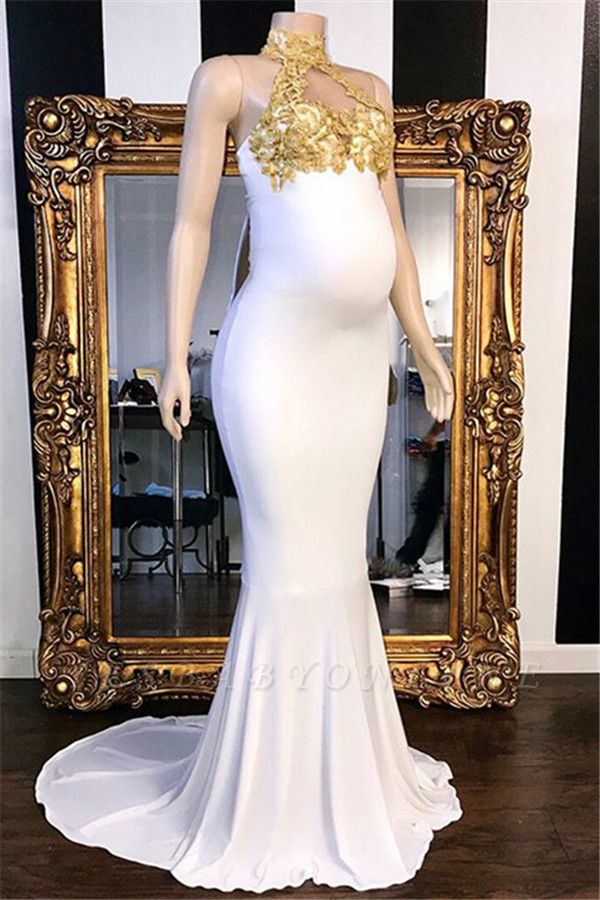 Elegant High-Neck Beaded Pregnant Mermaid Prom Dresses with Appliques