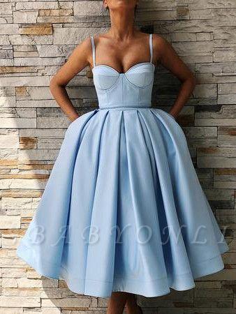 Spaghetti-Straps Sweetheart Knee-Length Homecoming Dress