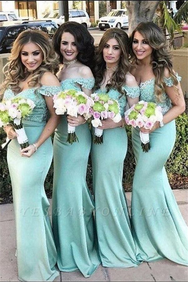 Mint Lace Long Off-the-Shoulder Mermaid Bridesmaid Dress