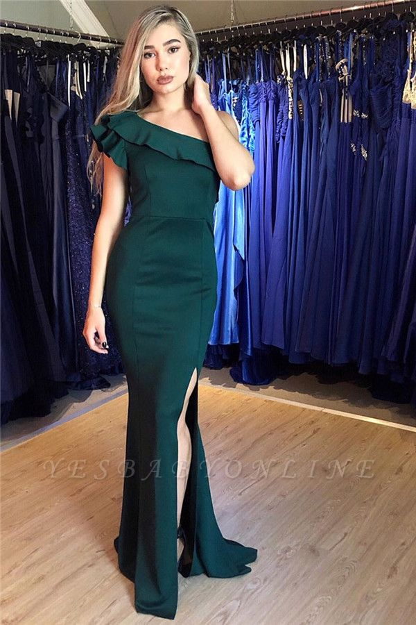 One-Shouler Dark Green Mermaid Prom Dresses with Side-Slit