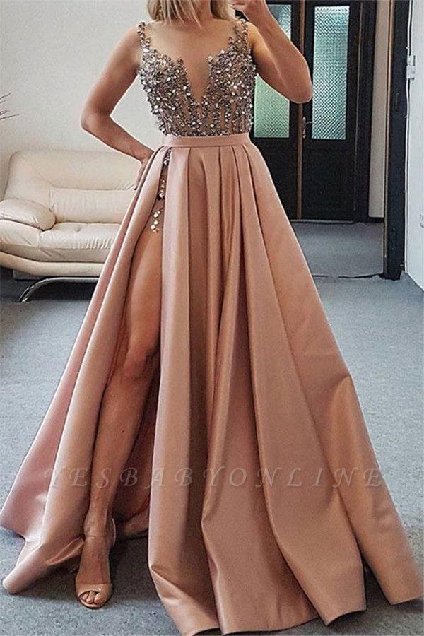 Elegant Straps Crystal Side-Slit A-Line Prom Dresses