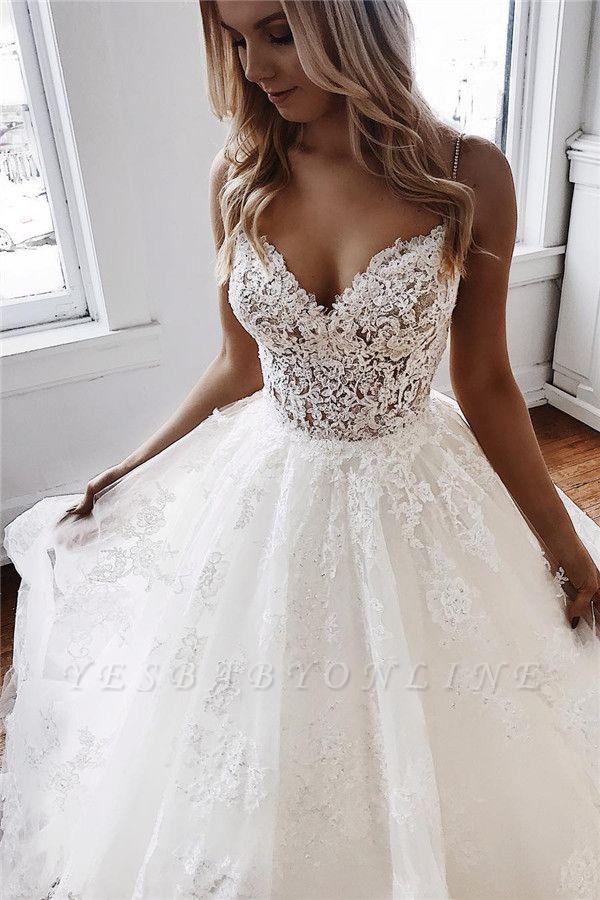 Glamorous Spaghetti-Straps Lace Appliques A-Line Wedding Dresses