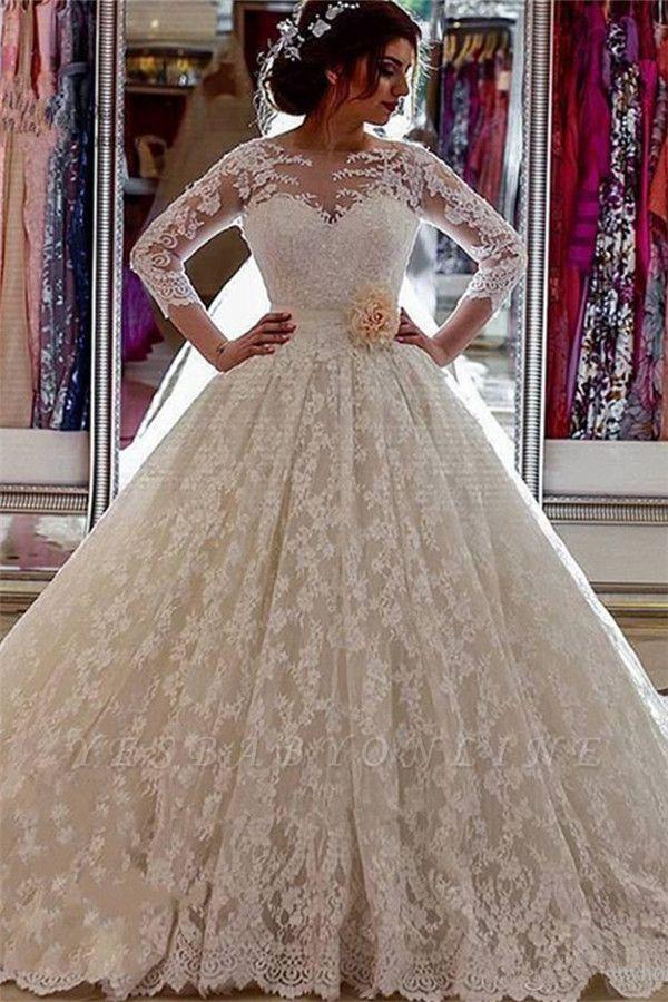 Classic Arabic Long Illusion Sheer Sleeves Lace Ball-Gown Church-Train Wedding Dress