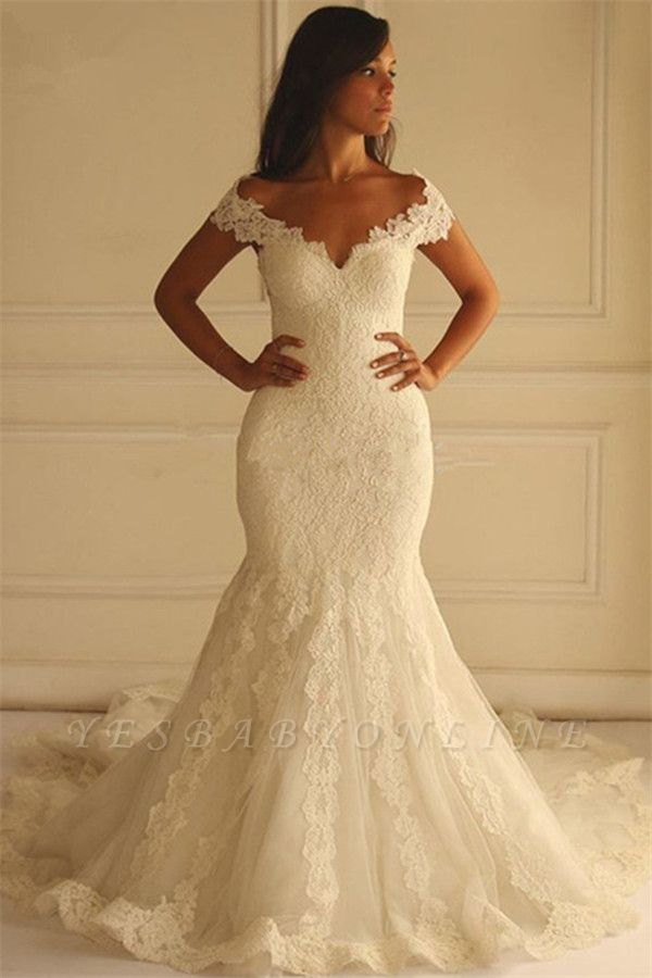 Glamorous Off-The-Shoulder Applique  Sexy Mermaid Lace Wedding Dresses