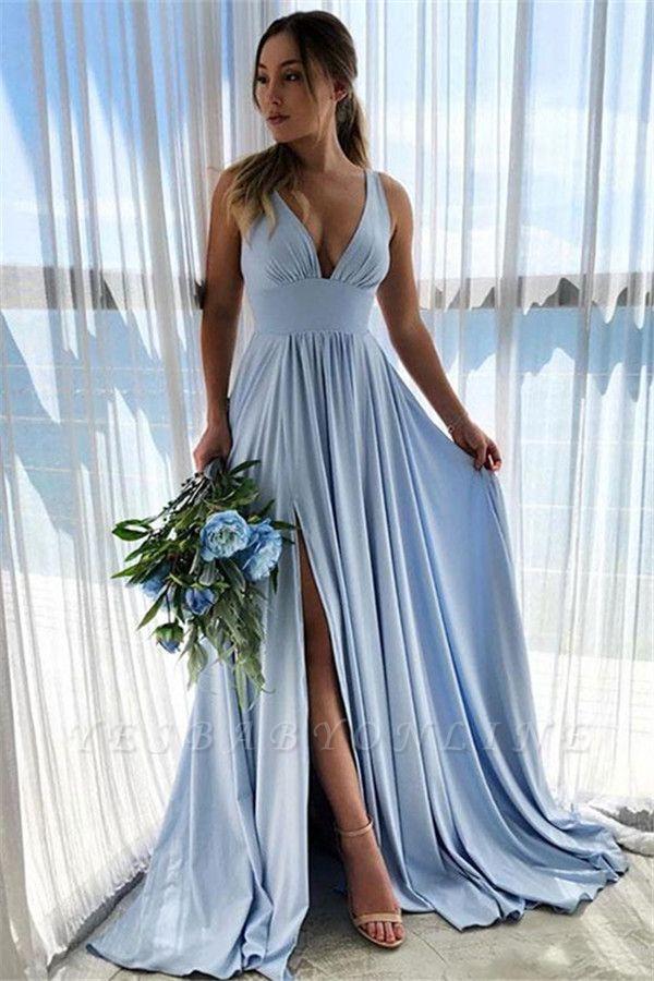 Sky Blue Straps V-Neck Side-Slit A-Line Prom Dresses