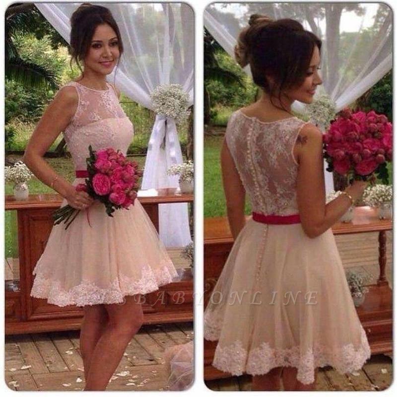 Jewel Elegant Sleeveless Mini A-line Lace Homecoming Dress