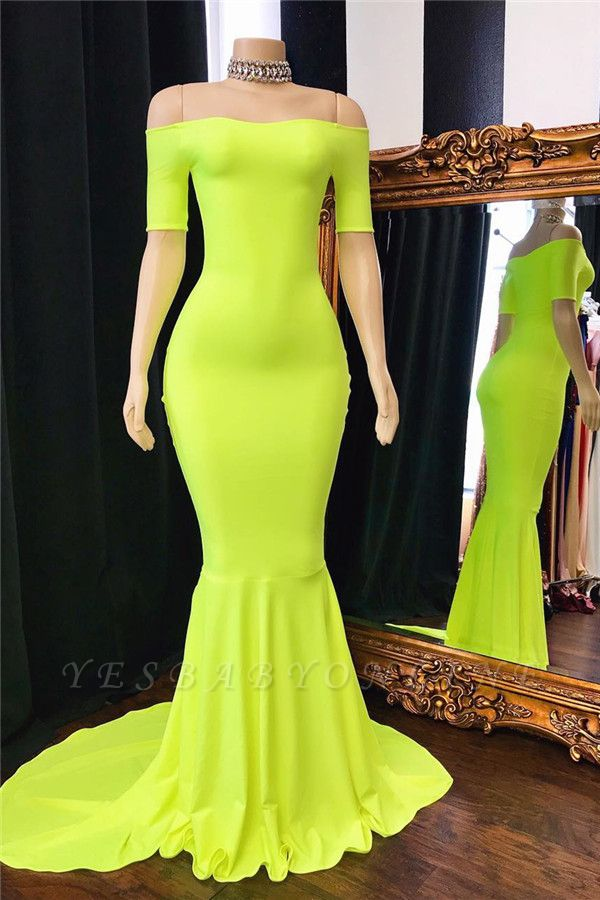 Simple Off-The-Shoulder Mermaid Lucifer Yellow Prom Dresses