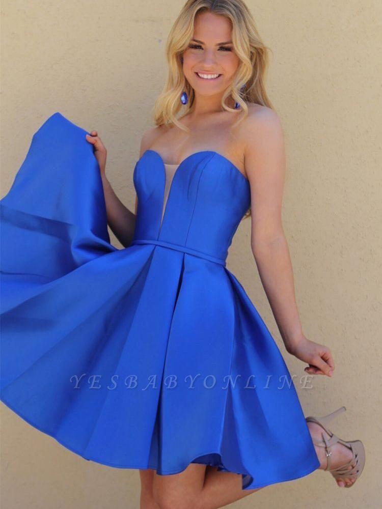 V-Neck Strapless Satin A-Line Short Homecoming Dress