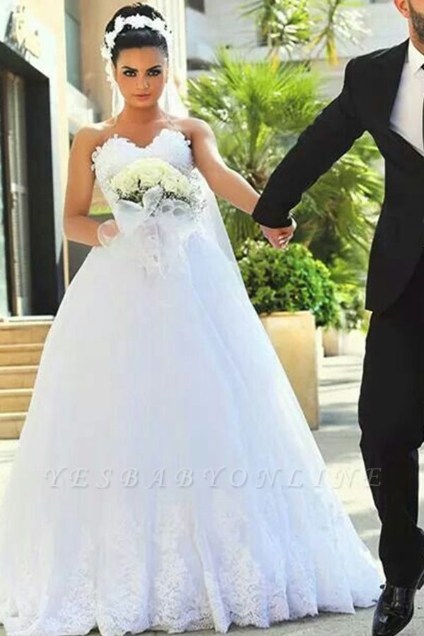 A-line Sweetheart Modern Sleeveless Lace Wedding Dress