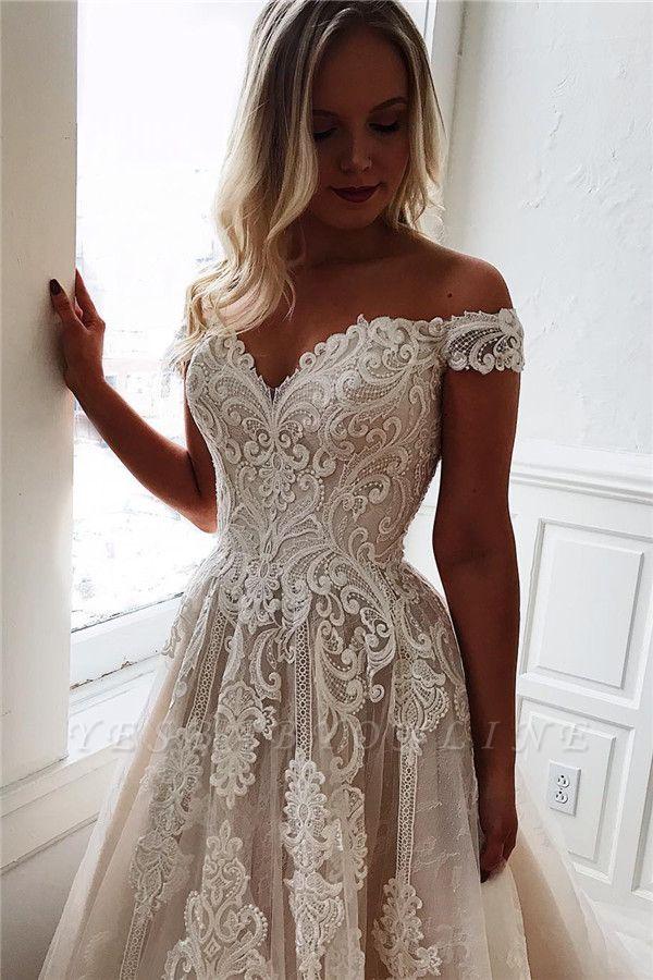 Dazzling Off-The-Shoulder Lace Appliques A-Line Wedding Dresses
