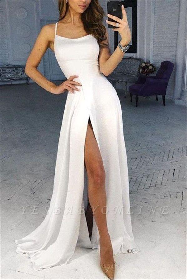 A-line Spaghetti Straps Satin Prom Dresses with a Leg Slit