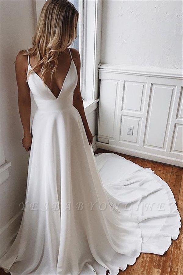 Alluring  Spaghetti-Straps V-Neck Backless Wedding Dresses