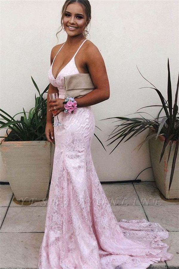 Stunning Spaghetti-Straps V-neck Pink Mermaid Prom Dresses