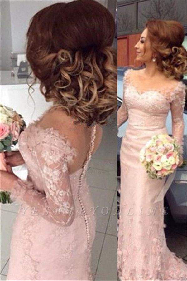 Long-Sleeve Sheer Lace Appliques Buttons Pink Sheath Bridesmaid Dress