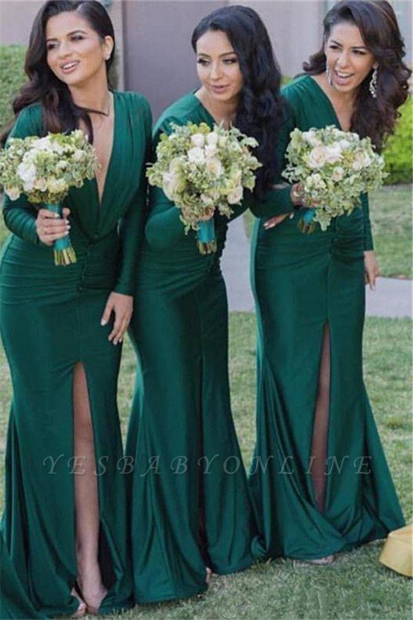 Green Front-Split Long-Sleeves V-Neck Sexy Mermaid Bridesmaid Dresses