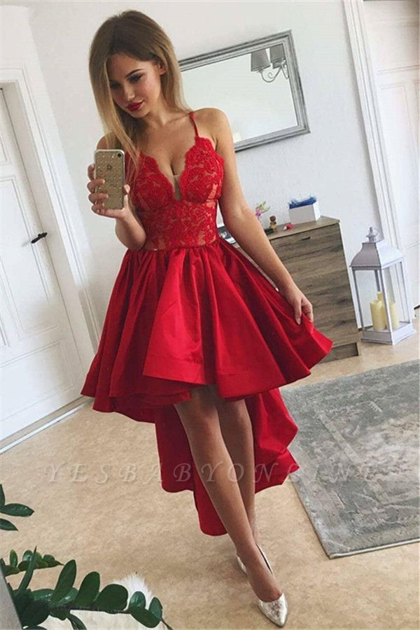 A-line V-neck Red Cute High-low Lace Homecoming Dress