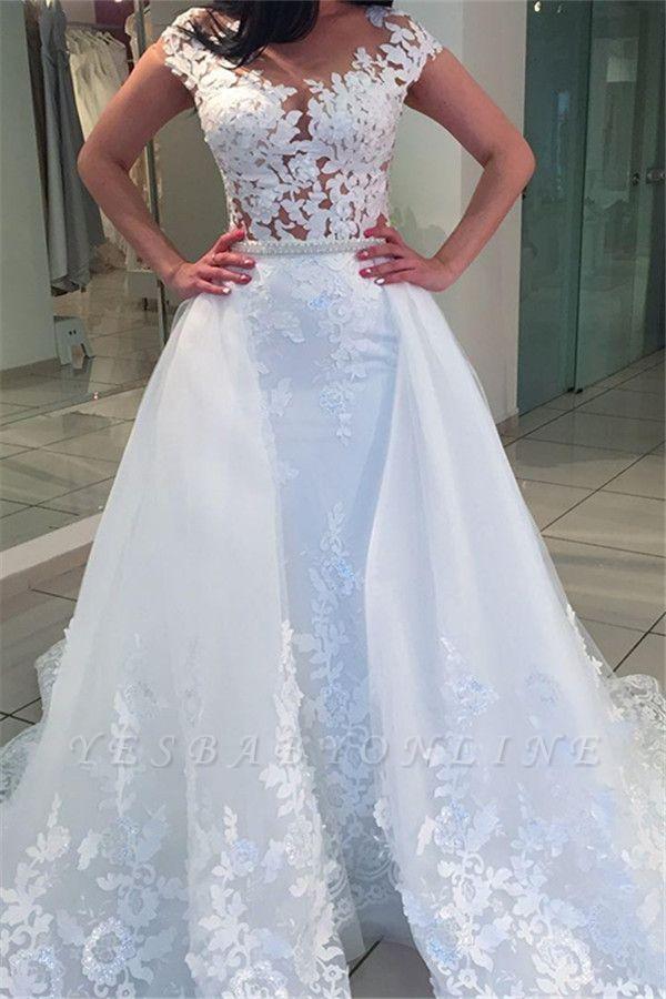 White A-Line Lace Cap-sleeve Romantic Wedding Dresses