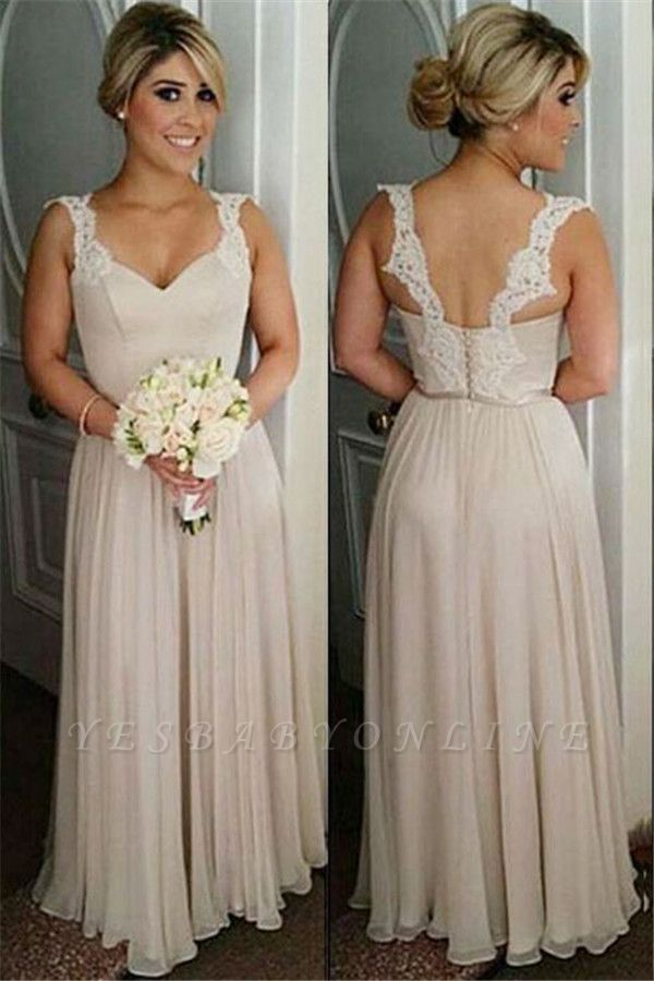 Lace A-line Straps Floor-length Buttons Bridesmaid Dresses