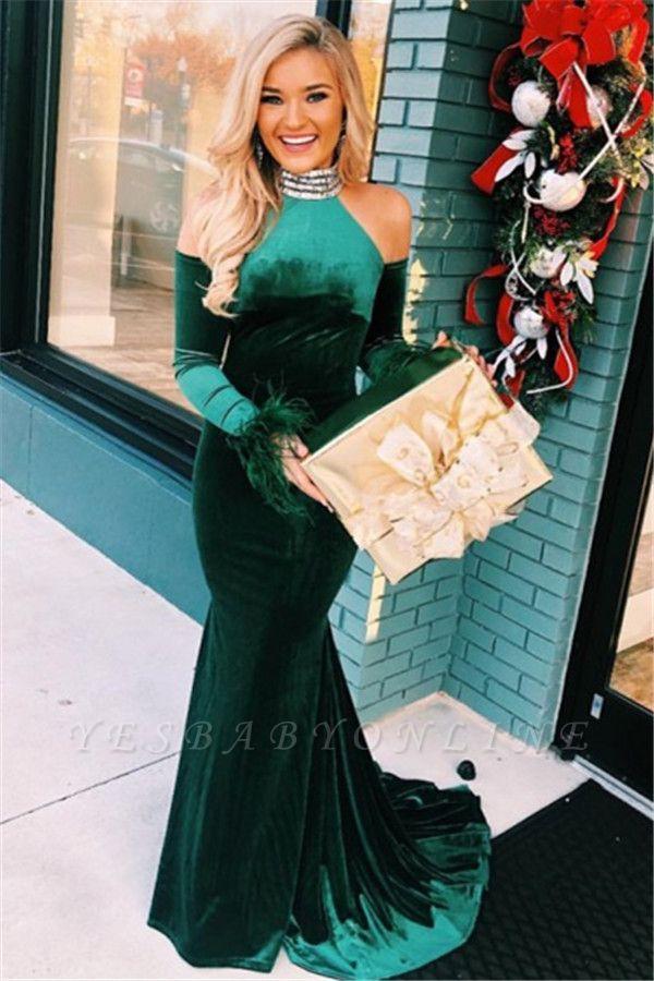 Green High-Neck Velvet Long Sleeves Mermaid Prom Dresses