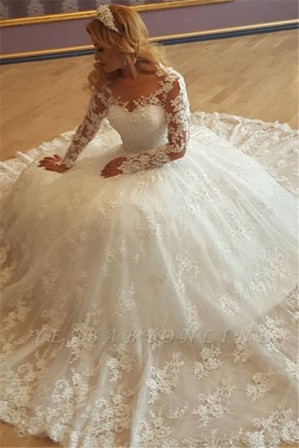 Lace Appliques Classic Glamorous Long Sleevess Princess Wedding Dresses