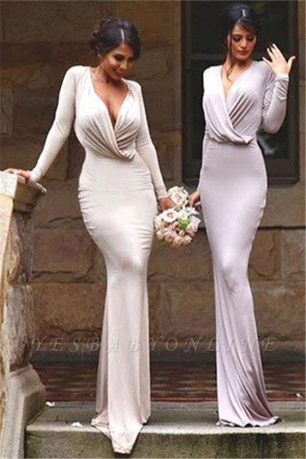 Elegant V-neck Long-Sleeve Bodycon Floor-length Bridesmaid Dress