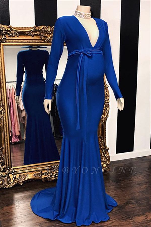 Elegant Long Sleeves V-Neck Pregnant Mermaid Prom Dresses
