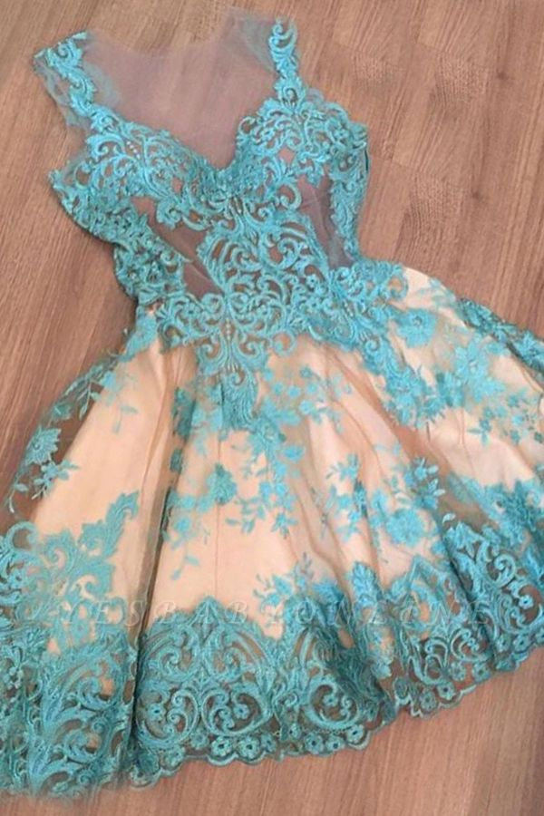 Appliques A-Line Newest Sleeveless Short Homecoming Dress