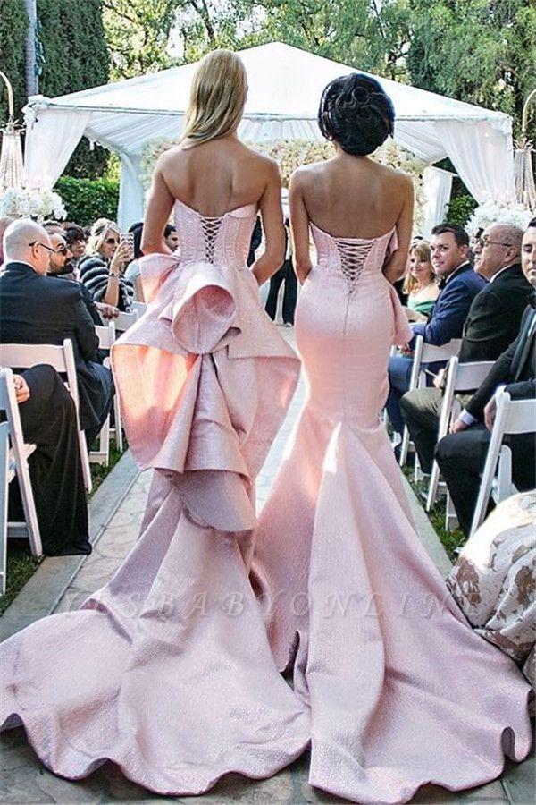 Long Bridemsiad Dresses Pink mermaid Taft