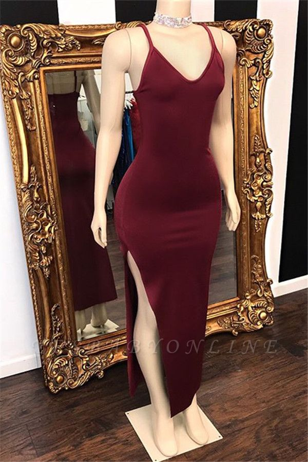 Sheath Spaghetti-Straps Side-Slit Burgundy Prom Dresses