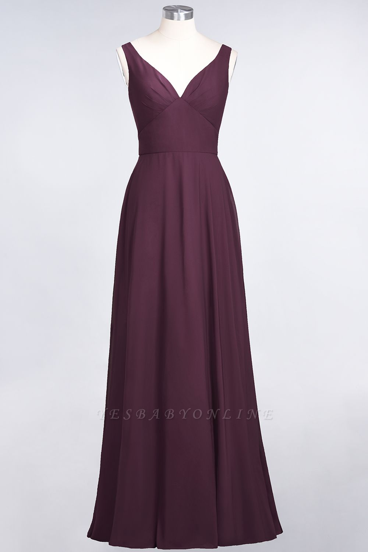 A-Line V-Neck Straps Sleeveless Ruffles Floor-Length  Bridesmaid Dress with Open Back