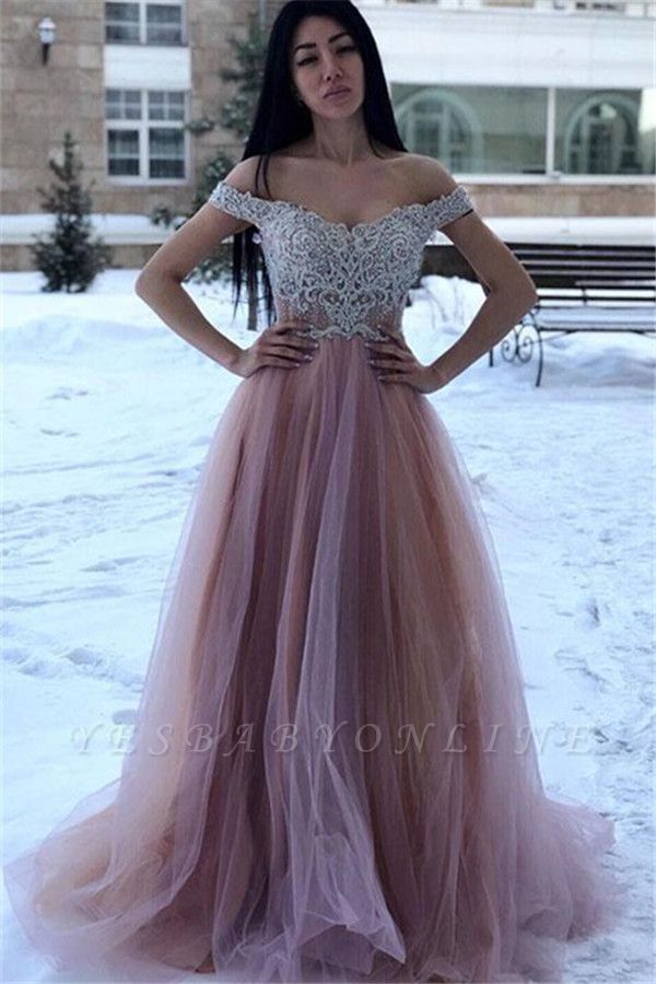 Glamorous Off-The-Shoulder Appliques A-Line Tulle Prom Dresses