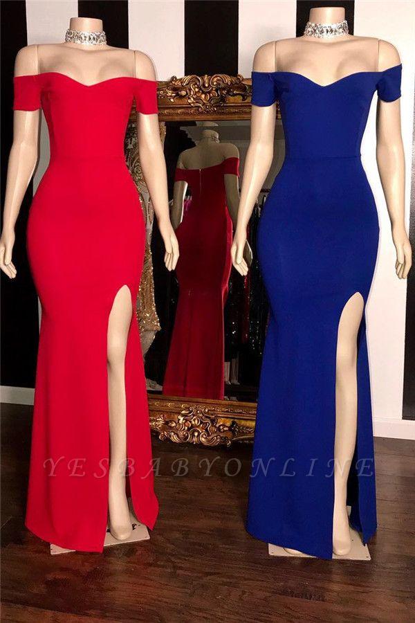 Simple Off-The-Shoulder Side-Slit Mermaid Prom Dresses