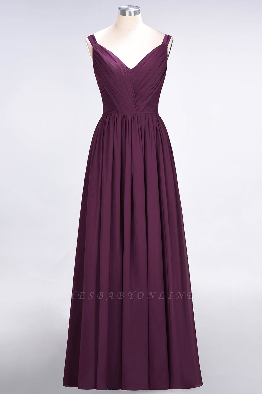 A-Line Straps V-Neck Sleeveless Backless Floor-Length  Bridesmaid Dress with Ruffles
