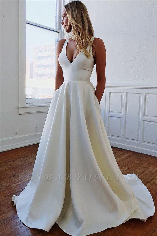 Modern A-line V-neck Satin Plain Wedding Dresses