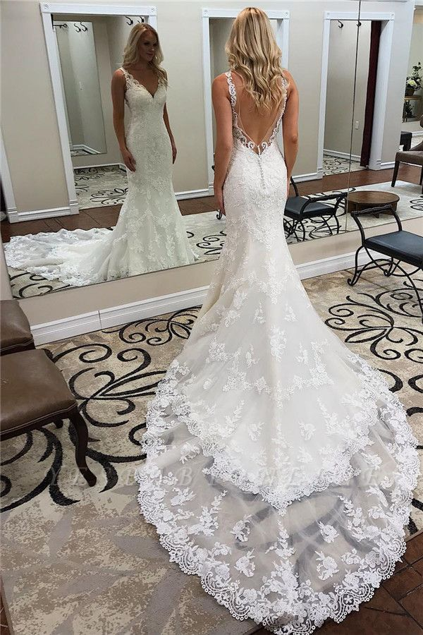 Glamorous Straps V-Neck Backless Lace  Mermaid Wedding Dresses