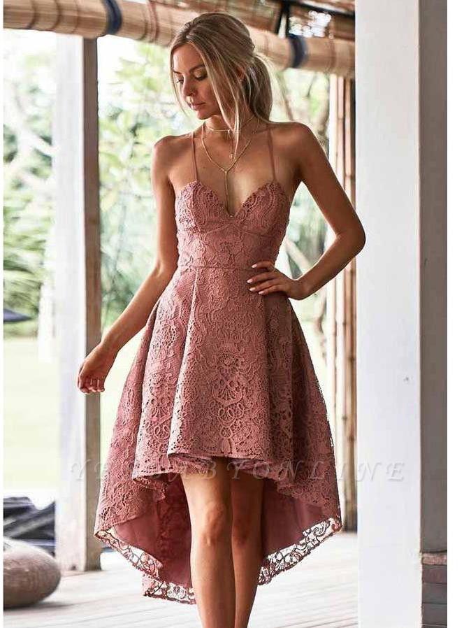 Hi-Lo Lace Spaghetti-Straps V-Neck Homecoming Dress