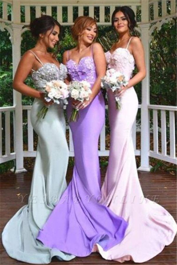 Spaghettis-Straps Long Mermaid 3D-Floral-Appliques Elegant Bridesmaid Dresses
