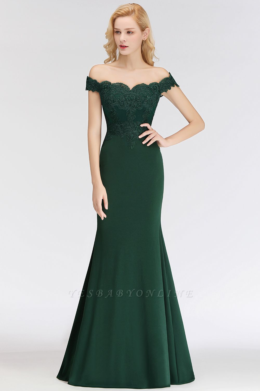 Green Elegant Lace Mermaid Off-The-Shoulder Bridesmaid Dresses