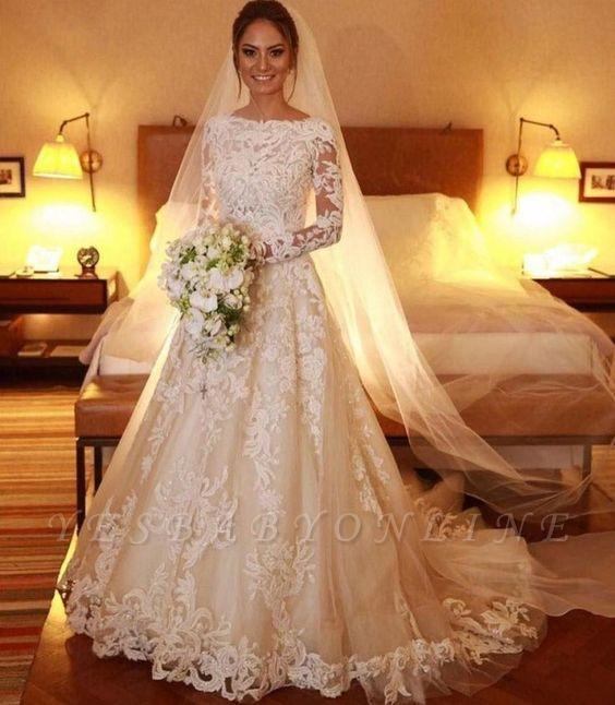Elegant A-Line Long Sleeve Lace Wedding Dresses