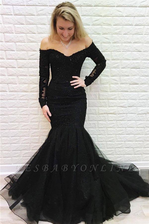Elegant Off Shoulder Long sleeves Black Prom Dress   Black Sexy Mermaid Evening Dresses