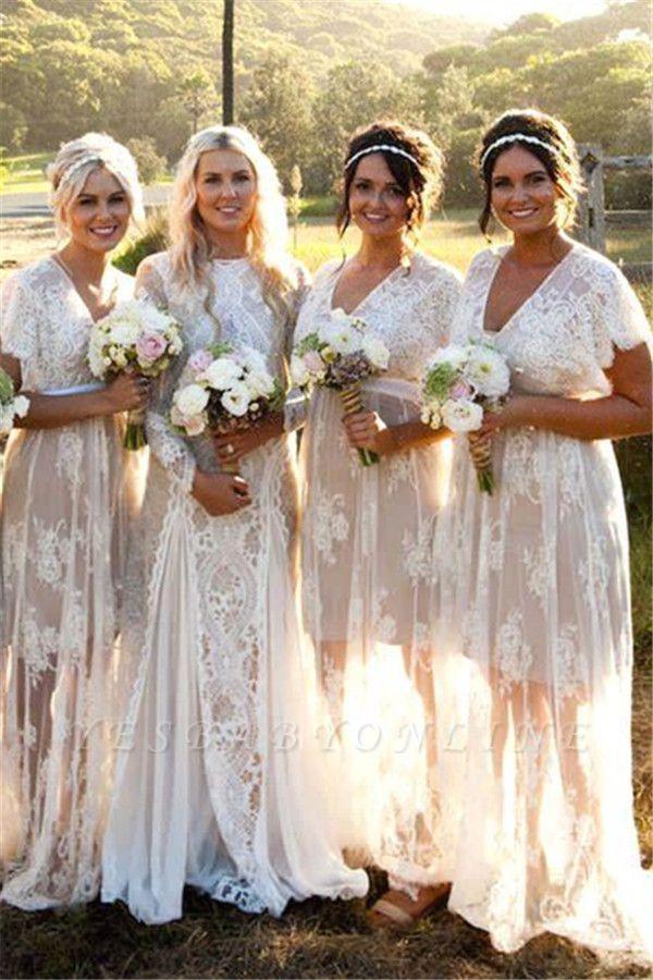 Elegant Lace Capped-Sleeves V-Neck Long Sheer Bridesmaid Dresses