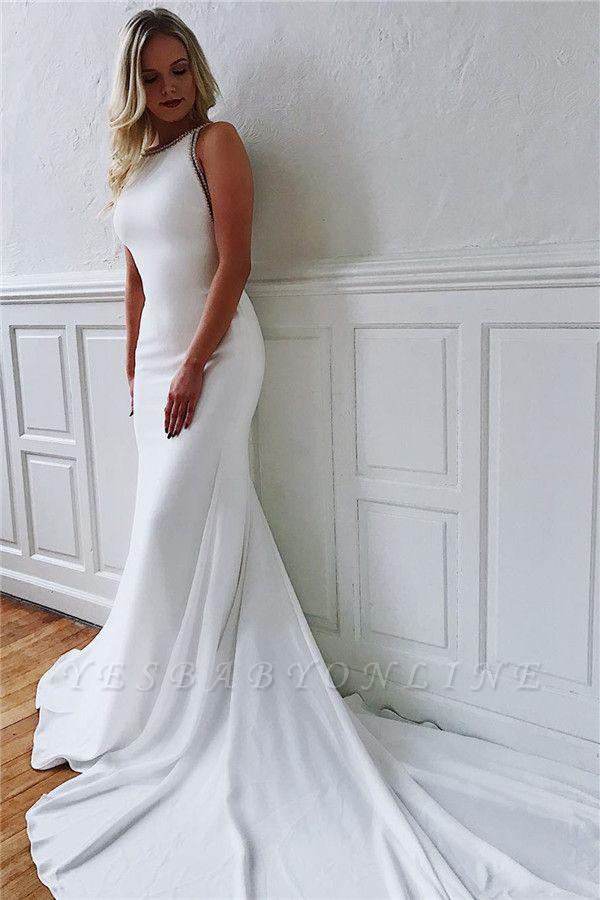 Dazzling Straps Sleeveless Mermaid Wedding Dresses