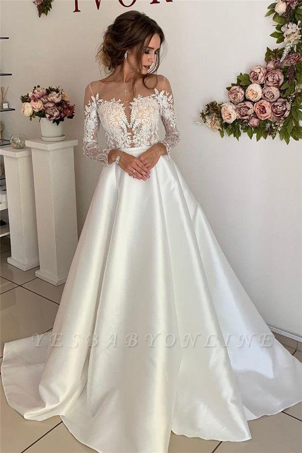 Glamorous Appliques Long-Sleeves A-Line Wedding Dresses